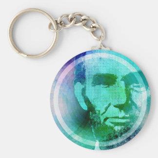 Abraham Lincoln Pop Art Basic Round Button Key Ring