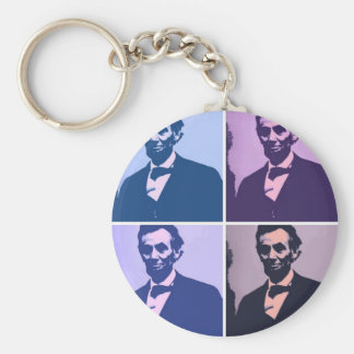 Abraham Lincoln Pop Art Basic Round Button Key Ring