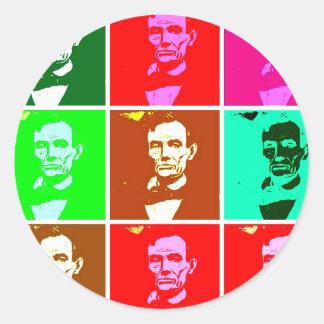 Abraham Lincoln Pop Art T-shirts, Sweats Round Stickers