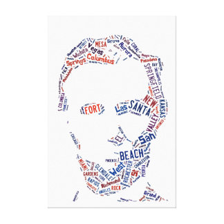 Abraham Lincoln Portrait American Cities Tag Cloud Stretched Canvas Prints