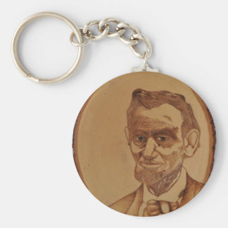 Abraham Lincoln Portrait Basic Round Button Key Ring