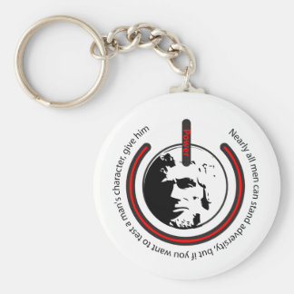 Abraham Lincoln Power Basic Round Button Key Ring