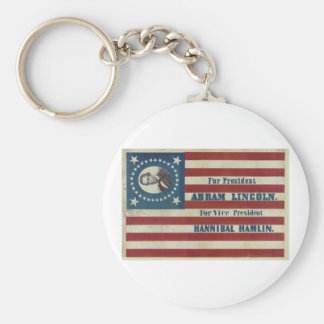 Abraham Lincoln Presidency Campaign Banner Flag Basic Round Button Key Ring