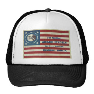 Abraham Lincoln Presidency Campaign Banner Flag Mesh Hat
