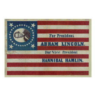 Abraham Lincoln Presidency Campaign Banner Flag Poster