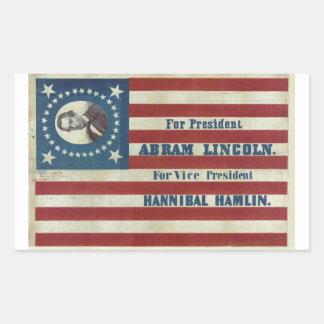 Abraham Lincoln Presidency Campaign Banner Flag Rectangular Sticker