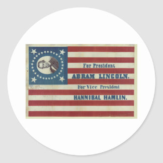 Abraham Lincoln Presidency Campaign Banner Flag Round Sticker