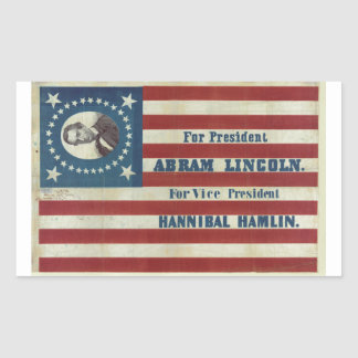 Abraham Lincoln Presidency Campaign Banner Flag Rectangle Sticker