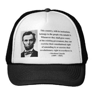 Abraham Lincoln Quote 9b Cap