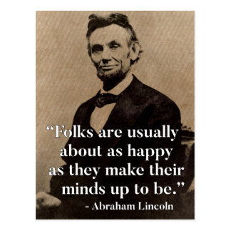 Abraham Lincoln Quote on Happiness Postcard