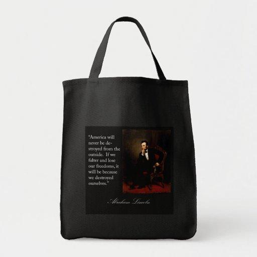 Abraham Lincoln Quote & Portrait Canvas Bag