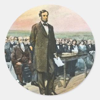 Abraham Lincoln Recites the Gettysburg Address Vin Round Sticker
