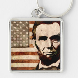 Abraham Lincoln Silver-Colored Square Key Ring