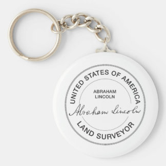 Abraham Lincoln US Land Surveyor Seal Basic Round Button Key Ring