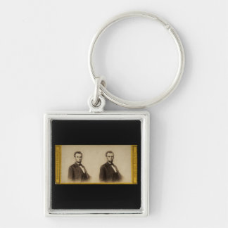 Abraham Lincoln Vintage Stereoview Silver-Colored Square Key Ring