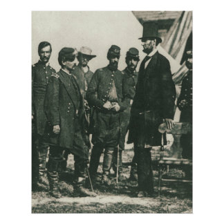 Abraham Lincoln with Troops 1862 Poster