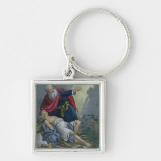 Abraham Offering Up his Son Isaac, from a Bible pr Silver-Colored Square Key Ring