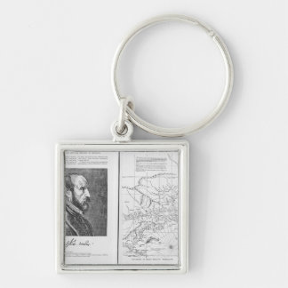Abraham Ortel Oretelius Silver-Colored Square Key Ring