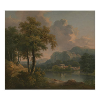 Abraham Pether - Wooded Hilly Landscape Poster
