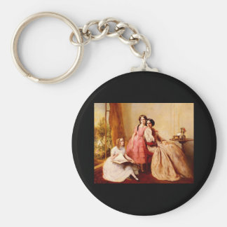 Abraham Solomon A Portrait Of Two Girls With Their Basic Round Button Key Ring