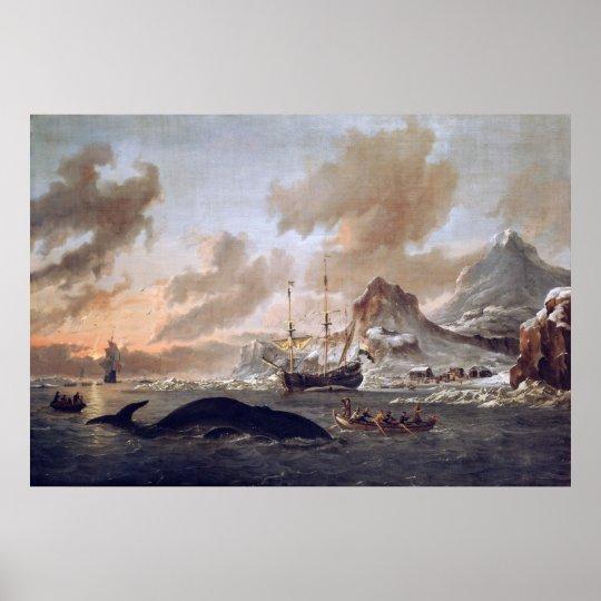 Abraham Storck Dutch whalers near Spitsbergen 1690 Poster
