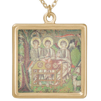 Abraham with the angels (mosaic) gold plated necklace
