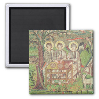 Abraham with the angels (mosaic) square magnet