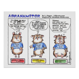 Abrahamster 3 Panel Cartoon Poster Print