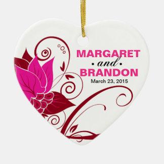 Abraxas Abstract Floral Wedding Photo fuschia Ceramic Heart Decoration