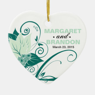 Abraxas Abstract Floral Wedding Photo mint Double-Sided Heart Ceramic Christmas Ornament
