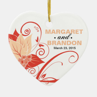 Abraxas Abstract Floral Wedding Photo peach Ceramic Heart Decoration