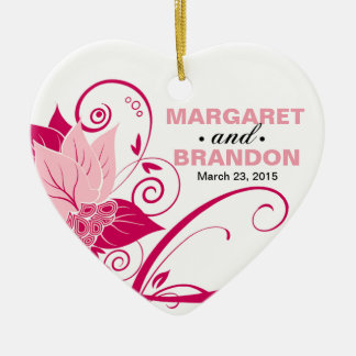 Abraxas Abstract Floral Wedding Photo pink magenta Double-Sided Heart Ceramic Christmas Ornament