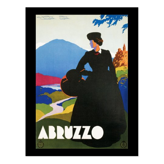 Abruzzo, Italy Vintage Travel Advertising Poster Postcard