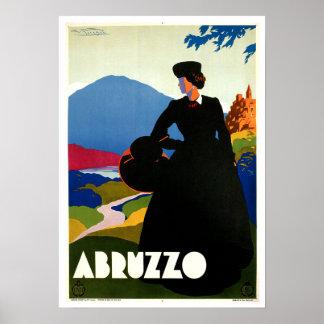 Abruzzo Italy Vintage Travel Art Poster