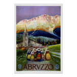 Abruzzo restored vintage Italian travel Poster