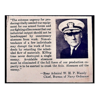 Absences Aid The Enemy - Rear Admiral W.H.P Blandy Postcard
