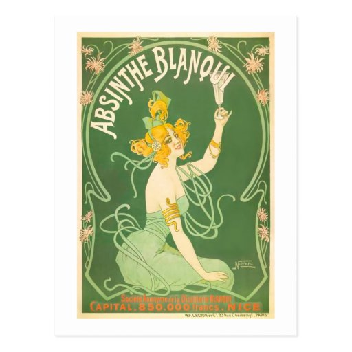 Absinthe Blanqui Vintage Absinthe Art Post Card