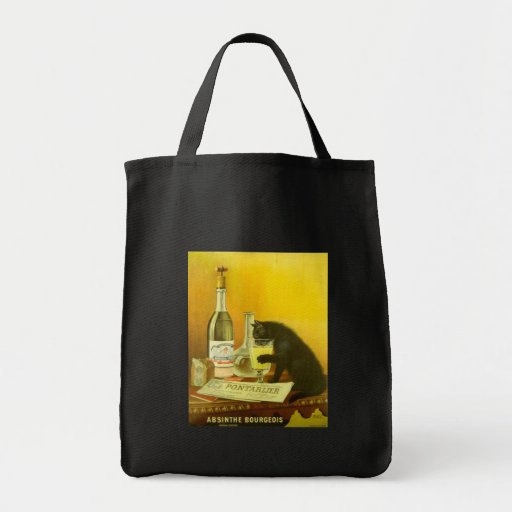 Absinthe Bourgeois and Cat Fine Vintage Poster Grocery Tote Bag