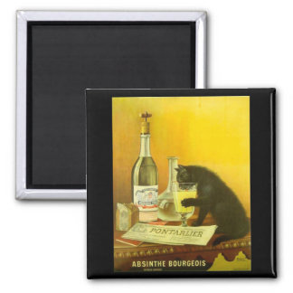 Absinthe Bourgeois and Cat Fine Vintage Poster Square Magnet