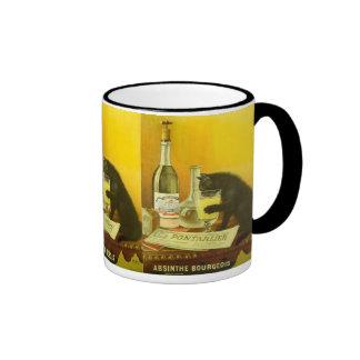 Absinthe Bourgeois and Cat Vintage Poster Art Ringer Mug