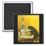 Absinthe Bourgeois and Cat Vintage Poster Art Square Magnet