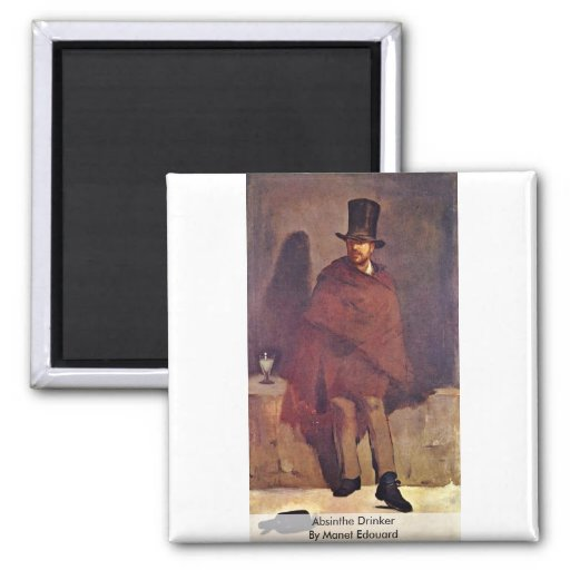 Absinthe Drinker By Manet Edouard Refrigerator Magnets