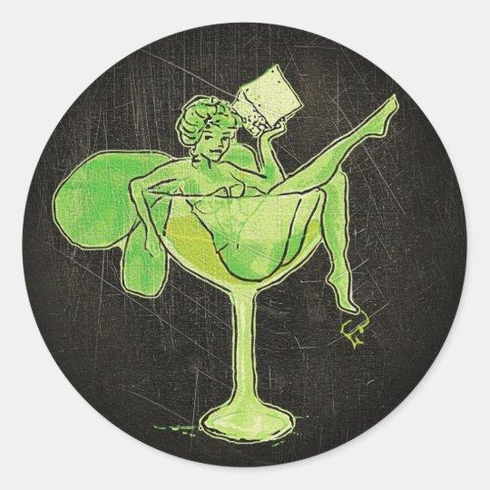 Absinthe Girl In Glass (no text) Classic Round Sticker