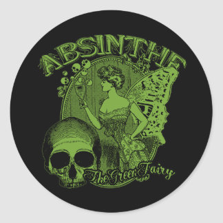Absinthe Green Fairy Lady Classic Round Sticker