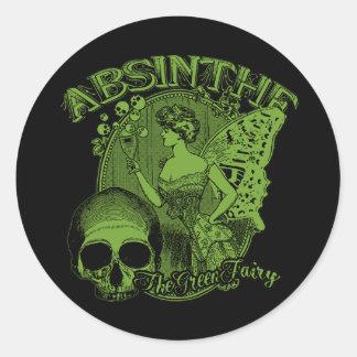 Absinthe Green Fairy Lady Round Sticker
