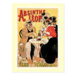 Absinthe Leon Vintage Wine Drink Ad Art Postcard