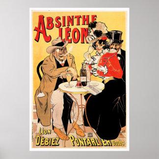 Absinthe Leon Vintage Wine Drink Ad Art Poster