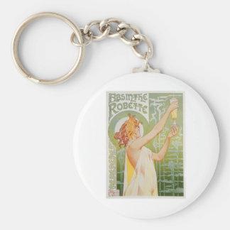 Absinthe Robette Vintage Drink Ad Art Basic Round Button Key Ring