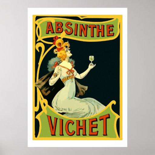 Absinthe Vichet, modern art nouveau Poster