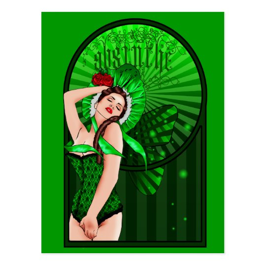 absinthe victorian green fairy postcard